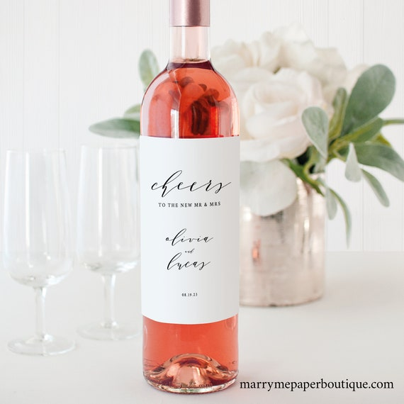 Wine Bottle Label Template, TRY BEFORE You BUY,  Editable Instant Download, Elegant Script