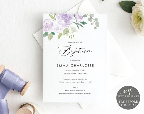 Baptism Invitation Template, TRY BEFORE You BUY, Editable Instant Download, Mauve & Lilac Floral