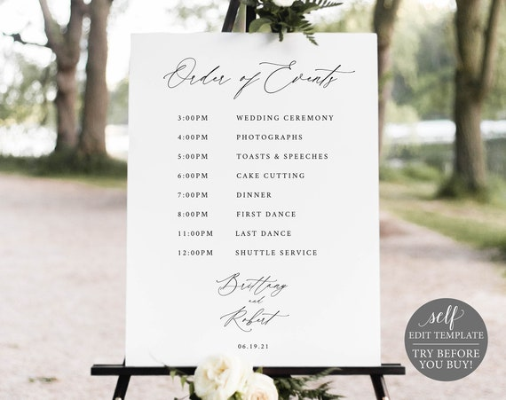 Wedding Itinerary Sign Template, Stylish Script, TRY BEFORE You BUY, Editable Instant Download