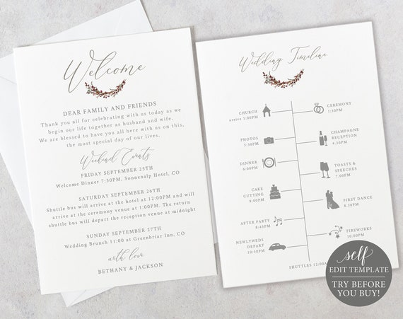Wedding Itinerary & Welcome Card Template, 100% Editable Timeline Printable, Instant Download