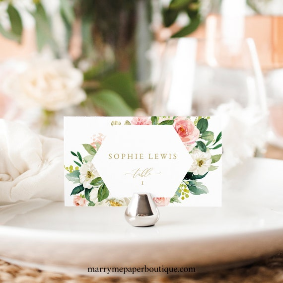Floral Place Card Template, Wedding Seating Cards Printable, Blush & White Flowers, Templett, Editable, INSTANT Download