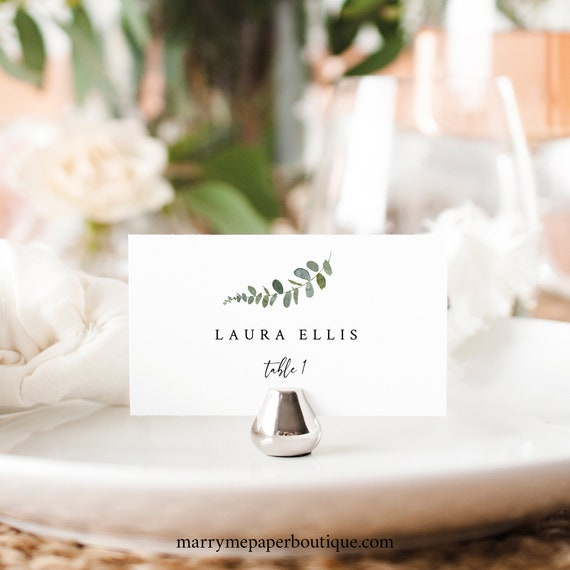 Place Card Template, Eucalyptus Greenery, Try Before You Buy, Wedding Place Card Printable, Templett Instant Download
