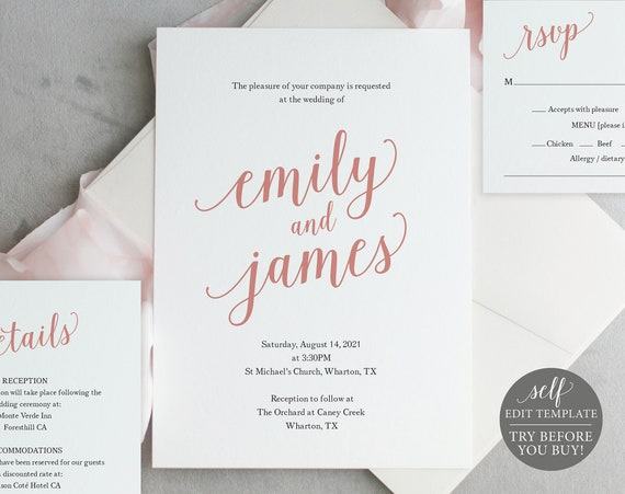 Wedding Invitation Set Templates, Rose Gold Script, 100% Editable Instant Download, TRY BEFORE You BUY
