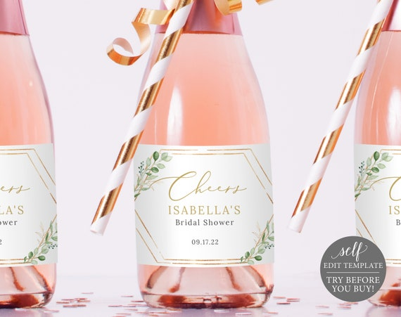 Mini Champagne Label Template, Greenery Hexagonal, Editable & Printable Instant Download, Try Before You Buy, Templett