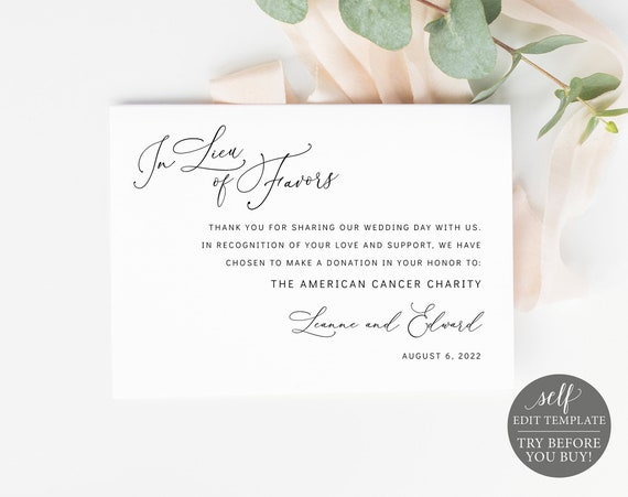 In Lieu of Favors Card Template, Minimalist Style, Editable & Printable Instant Download, Templett, TRY BEFORE You Buy