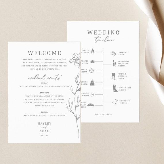 Wedding Itinerary Card Template, Elegant Botanical, Editable & Printable Instant Download, Templett