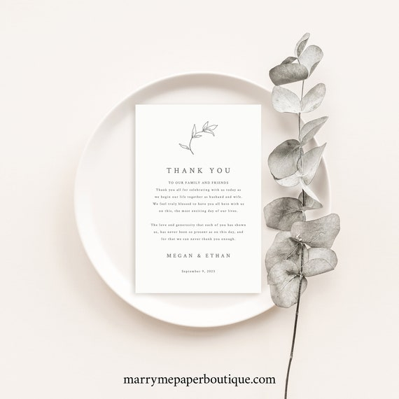 Thank You Letter Template, Botanical Leaf, Thank You Note, Printable, Editable, Elegant Wedding, Table Thank You, Templett INSTANT Download