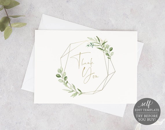 Thank You Card Template, Greenery & Gold, Editable Printable, Instant Download, Templett