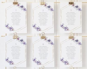 Seating Chart Cards Template, Delicate Lilac Flowers, Wedding Seating Cards, Printable, Purple Hydrangea, Templett INSTANT Download