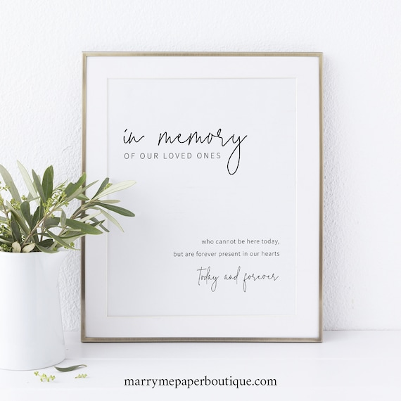 In Memory Sign Template, Minimalist Elegant, Instant Download, Editable Template