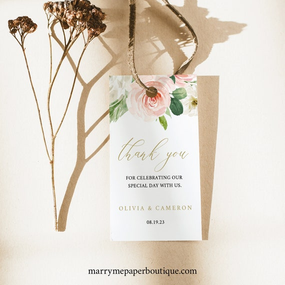 Thank You Favor Tag Template, Self Edit Instant Download, Pink Blush Floral, TRY BEFORE You BUY