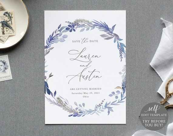 Save the Date Template, Lavender Blue, TRY BEFORE You BUY, 100% Editable Instant Download