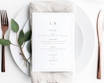 Wedding Menu Card Template, Monogram & Border, Elegant Wedding Table Menu, Wedding Monogram, Printable, Editable, Templett INSTANT Download
