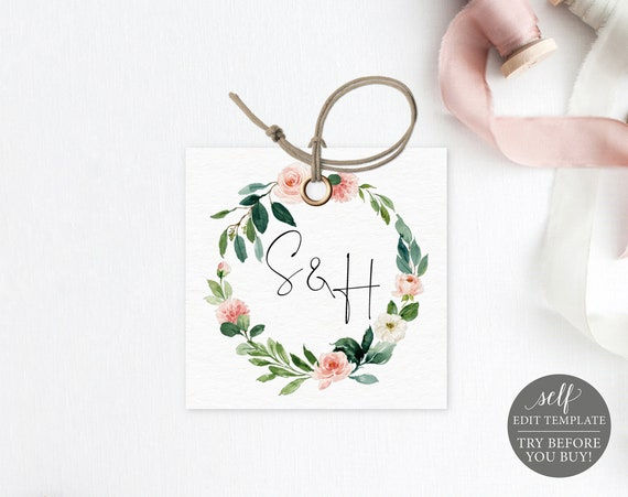 Monogram Tag Template, Greenery Floral, Editable Instant Download, TRY BEFORE You BUY