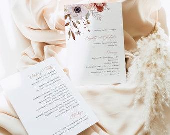 Wedding Program Template, Fall Floral, Wedding Ceremony Program Printable, Editable, 5x7, Fall Wedding, Templett INSTANT Download