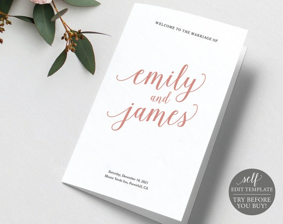 Catholic Wedding Program Template, Rose Gold Script Folded, 100% Editable Instant Download, TRY BEFORE You BUY