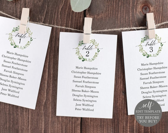 Seating Chart Template, Printable Seating Plan Template, Greenery Wedding Seating Cards Template, Hanging Cards, Instant Download