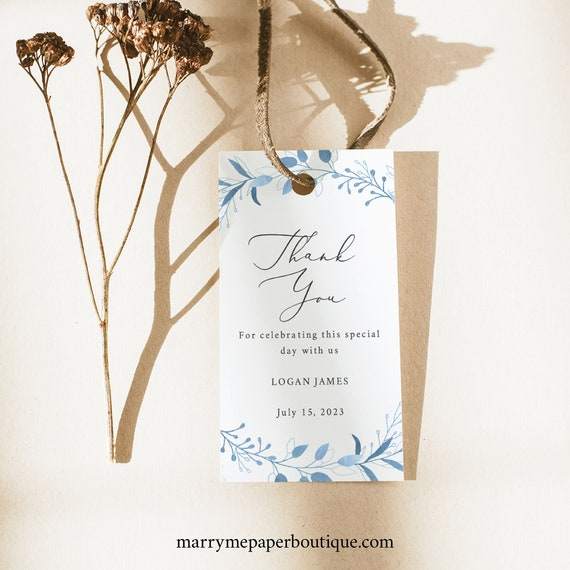 Thank You Favor Tag Template, TRY BEFORE You BUY, Fully Editable Text, Instant Download, Blue Foliage
