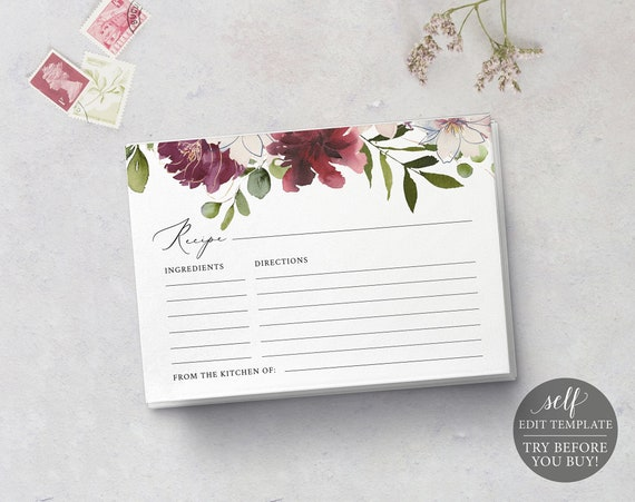 Recipe Card Template, TRY BEFORE You BUY, Editable Instant Download, Burgundy Floral