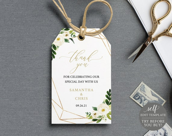 Thank You Favor Tag Template, Self Edit Instant Download, TRY BEFORE You BUY, White Floral Geometric
