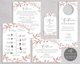 Wedding Guest Welcome Bundle Templates, Rose Gold Foliage, Editable Instant Download, TRY BEFORE You BUY