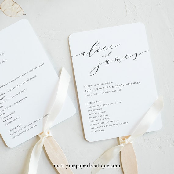 Elegant Wedding Program Fan Template, Modern Fan Program Printable, Instant Download, Templett Editable