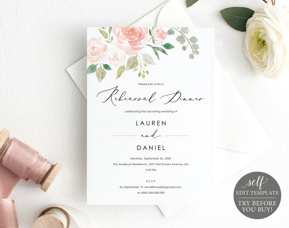 Wedding Rehearsal Dinner Invitation Template, 100% Editable Invite, TRY BEFORE You BUY, Instant Download, Printable, Pink & Blush Floral