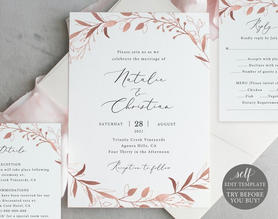 Wedding Invitation Template Set, Free Demo Available, Editable Instant Download, Rose Gold Foliage