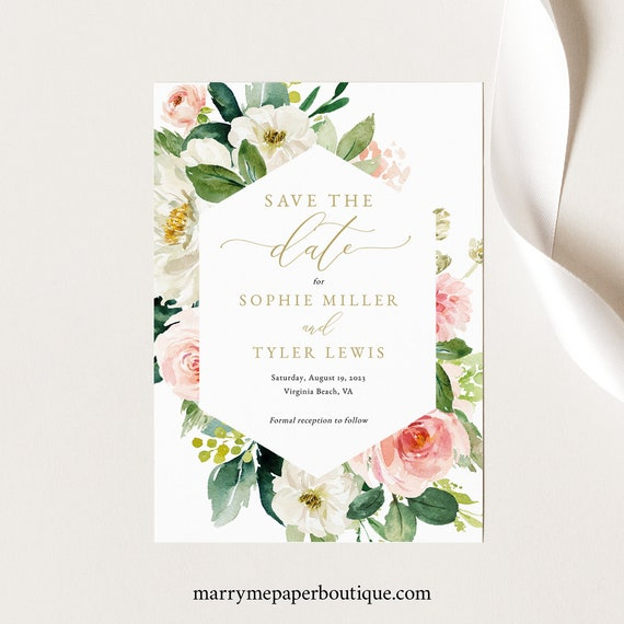 Floral Save the Date Card Template, Blush White Flowers, Printable Save Our Date, Templett, Editable, INSTANT Download