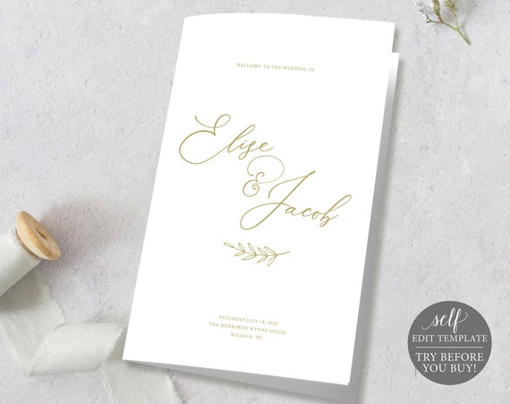 Wedding Ceremony Program Template, TRY BEFORE You BUY, Printable Program, 100% Editable Order of Service, Instant Download, Calligraphy