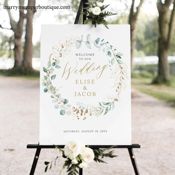 Wedding Welcome Sign Template, Gold & Greenery, Editable, Wedding Sign Printable, Templett INSTANT Download