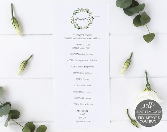 Greenery Wedding Itinerary Template, Printable Order of Events Template, Printable Itinerary Template, Timeline, Download