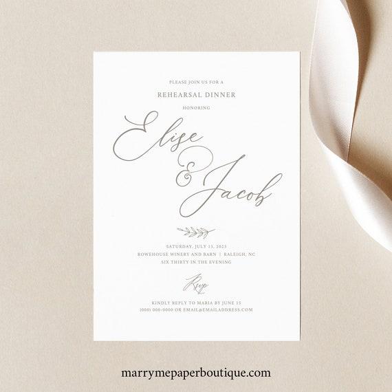 Rehearsal Dinner Invitation Template, Elegant Font, Calligraphy, Wedding Rehearsal Dinner Invite, Printable, Templett INSTANT Download