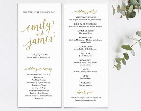 Wedding Program Template, Modern Script Gold, Templett, Editable & Printable Instant Download