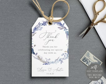 Thank You Favor Tag Template, Lavender Blue, Self Edit Instant Download, TRY BEFORE You BUY