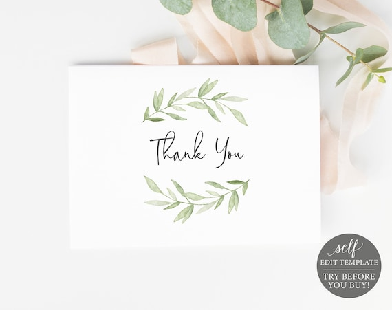 Thank You Card Template, Fold, Greenery Leaves, TRY BEFORE You BUY, 100% Editable Instant Download