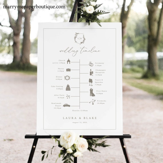 Wedding Timeline Sign Template, Botanical Wedding Crest, Itinerary Sign, Printable, Editable Order of Events Sign, Templett INSTANT Download
