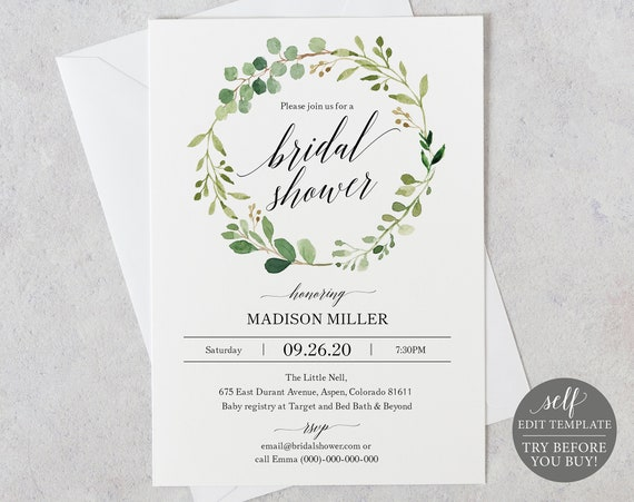 Bridal Shower Invitation Template, Editable Instant Download, TRY BEFORE You BUY, Greenery