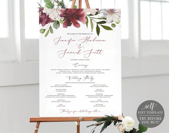Wedding Program Sign Template, TRY BEFORE You BUY, Printable Program Poster, 100% Editable Instant Download, Burgundy Floral Wedding