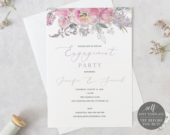 Engagement Party Invitation Template, Pink Lilac Floral, TRY BEFORE You BUY, 100% Editable Instant Download