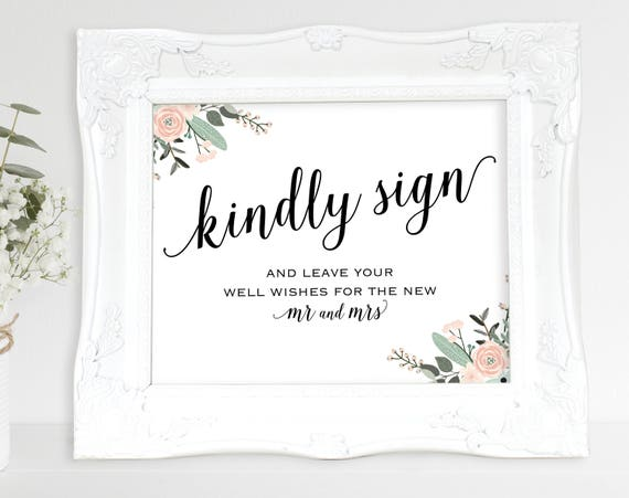 Floral Guest Book Sign, Please Sign our Guest Book, Guest Book Printable, Kindly Sign, Wedding Printable Sign, PDF Instant Download, MM01-6