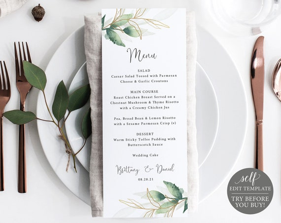 Wedding Menu Template, Free Demo Available, Greenery Gold, Editable Instant Download