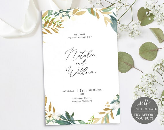 Catholic Wedding Program Template, TRY BEFORE You BUY, 100% Editable Instant Download, Gold & Greenery Folded