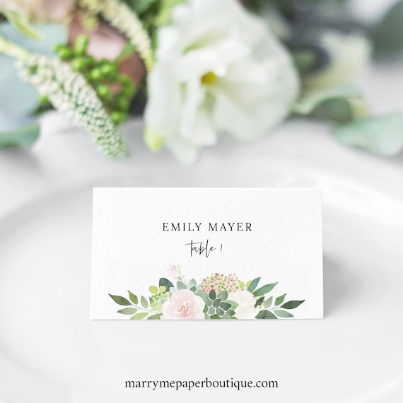 Succulent Floral Place Card Template, Greenery, Seating Card, Printable, Templett Editable, INSTANT Download