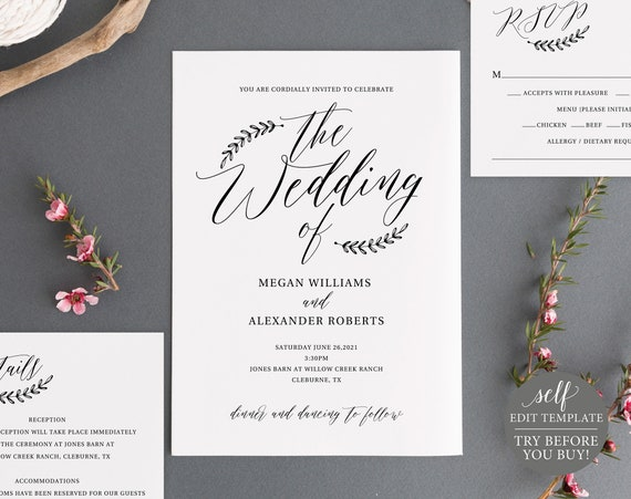 Rustic Wedding Invitation Set Template, 100% Editable Instant Download, TRY BEFORE You BUY
