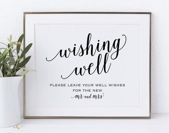 Wishing Well Sign, Wedding Sign, Wedding Printable Sign, Wishing Well, Wedding Template, Mr & Mrs Sign, DIY, PDF Instant Download, MM01-1
