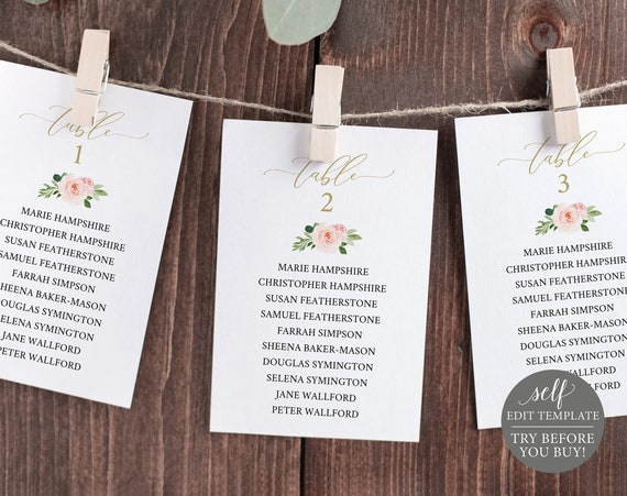 Wedding Seating Chart Cards Template, 100% Editable Instant Download, Pink Floral, TRY BEFORE You BUY
