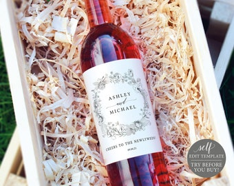 Wine Label Template, Free Demo Available, Editable Instant Download, Neutral Floral