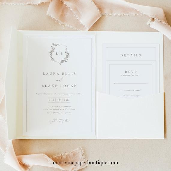 Wedding Invitation Template Set, Pocketfold, Botanical Wedding Crest, Wedding Invite Suite, Printable, Editable, Templett INSTANT Download