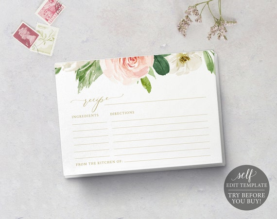 Recipe Card Template, TRY BEFORE You BUY, 100% Editable Instant Download, Pink Blush Floral